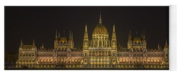 Hungarian Parliament Building Night Yoga Mat
