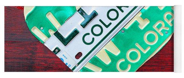 I Heart Colorado License Plate Art Yoga Mat