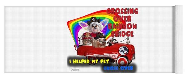 Yoga Mat featuring the digital art I Helped My Pet Cross Rainbow Bridge by Kathy Tarochione