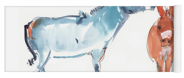 I Love You Donkey Art Watercolor Painting By Kmcelwaine Yoga Mat