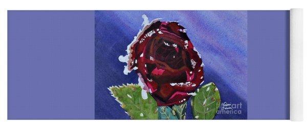 Icy Rose Watercolor Art Painting Yoga Mat