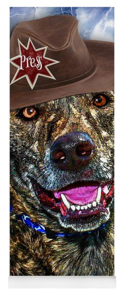 Yoga Mat featuring the digital art I'm A Canine Community Reporter by Kathy Tarochione