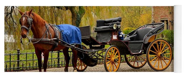 Immaculate Horse And Carriage Bruges Belgium Yoga Mat