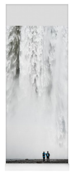 Impressive Waterfall Skogafoss In Iceland With Lots Of Water Yoga Mat
