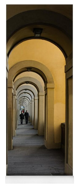 In A Distance - Vasari Corridor In Florence Italy  Yoga Mat