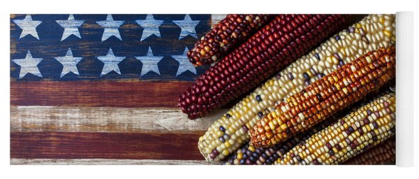 Indian Corn On American Flag Yoga Mat