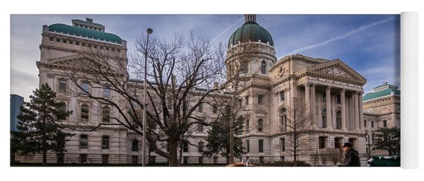 Indiana Capital Building - Front With Horse Passing Yoga Mat