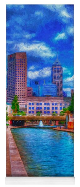 Indianapolis Skyline Canal View Digitally Painted Blue Yoga Mat