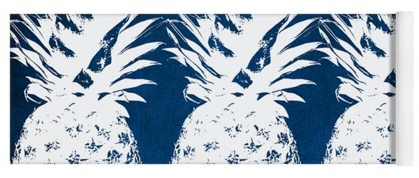 Indigo And White Pineapples Yoga Mat