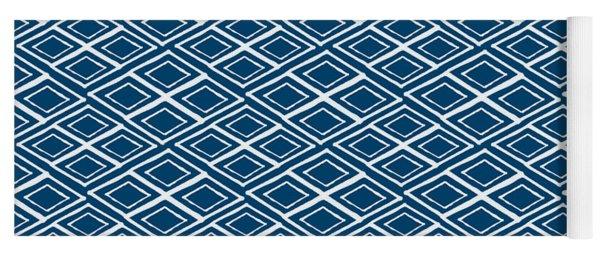Indigo And White Small Diamonds- Pattern Yoga Mat