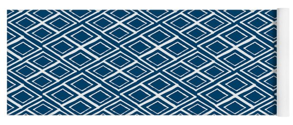 Indigo And White Small Diamonds- Pattern Yoga Mat