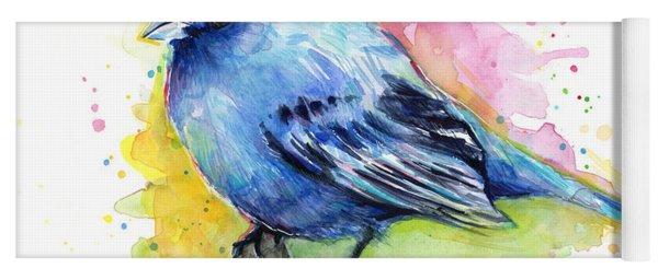 Indigo Bunting Blue Bird Watercolor Yoga Mat