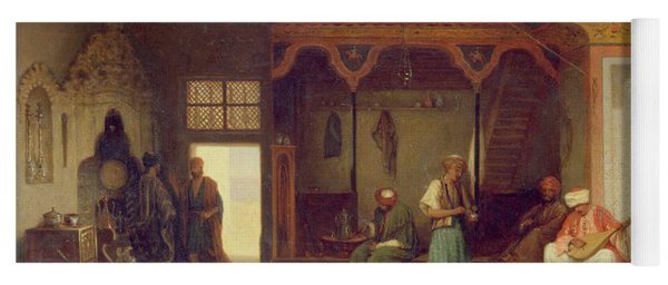 Interior Of An Oriental Cafe Oil On Panel Yoga Mat