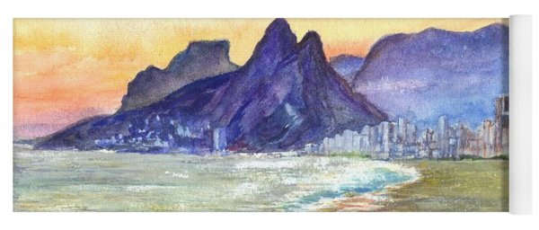 Sugarloaf Mountain And Ipanema Beach At Sunset Rio Dejaneiro  Brazil Yoga Mat