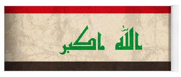 Iraq Flag Vintage Distressed Finish Yoga Mat