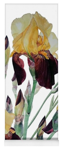 Watercolor Of Tall Bearded Iris In Yellow And Maroon I Call Iris Beethoven Yoga Mat