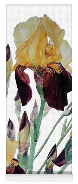 Watercolor Of Tall Bearded Iris In Yellow And Maroon I Call Iris Beethoven Yoga Mat