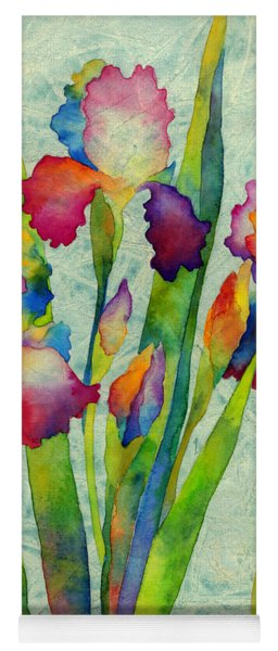 Iris Elegance On Green Yoga Mat