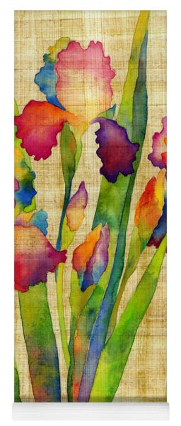 Iris Elegance On Yellow Yoga Mat