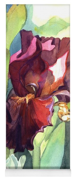 Watercolor Of A Tall Bearded Iris Called Sultan's Palace In Red And Burgundy Yoga Mat