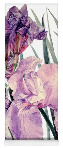 Watercolor Of An Elegant Tall Bearded Iris In Pink And Purple I Call Iris Joan Sutherland Yoga Mat