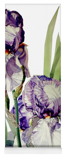 Watercolor Of A Tall Bearded Iris In Violet And White I Call Iris Selena Marie Yoga Mat