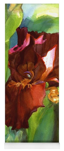 Watercolor Of A Tall Bearded Iris In Sienna Red Yoga Mat