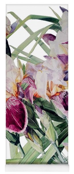 Watercolor Of Tall Bearded Irises I Call Iris Vivaldi Spring Yoga Mat