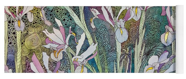 Irises And Doodles Yoga Mat