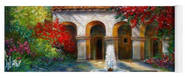 Italian Abbey Garden Scene With Fountain Yoga Mat
