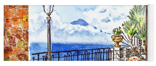 Italy Sketches Sorrento View On Volcano Vesuvius  Yoga Mat