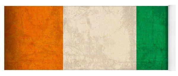 Ivory Coast Cote Divoire Flag Vintage Distressed Finish Yoga Mat
