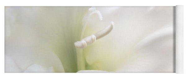 Ivory Gladiola Flower Yoga Mat