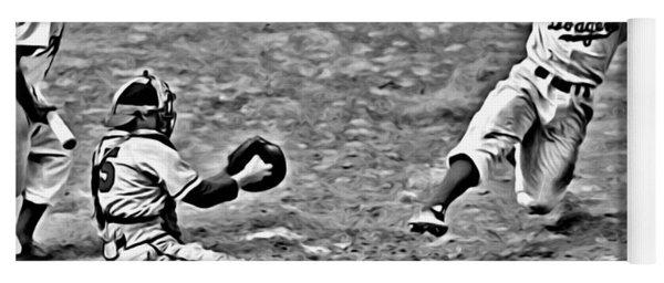 Jackie Robinson Stealing Home Yoga Mat