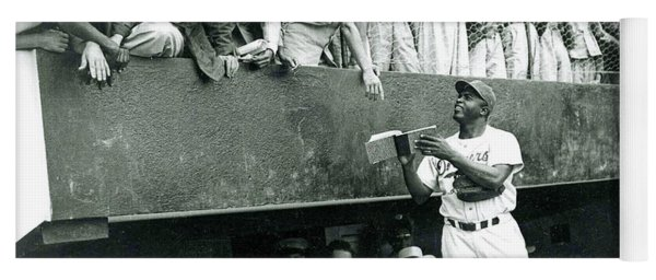 Jackie Robinson Signs Autographs Vintage Baseball Yoga Mat