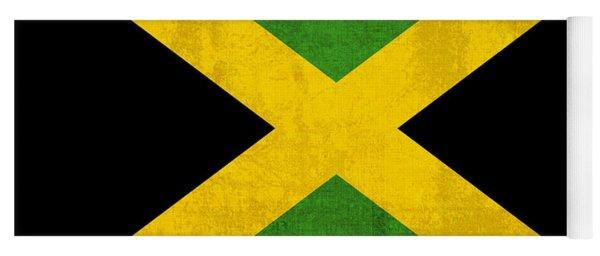 Jamaica Flag Vintage Distressed Finish Yoga Mat