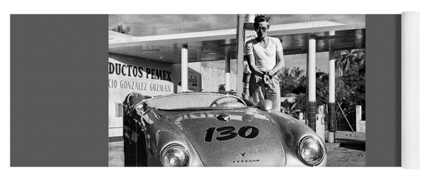 James Dean Filling His Spyder With Gas Black And White Yoga Mat