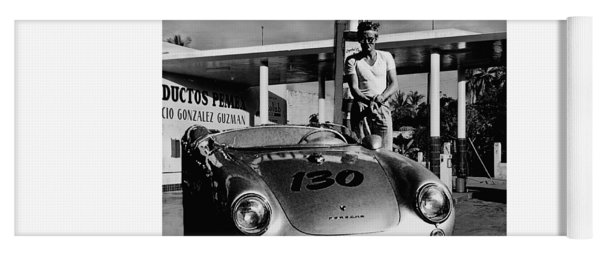 James Dean Filling His Spyder With Gas In Black And White Yoga Mat