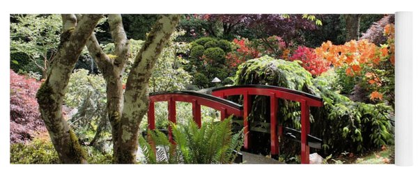 Japanese Garden Bridge With Rhododendrons Yoga Mat