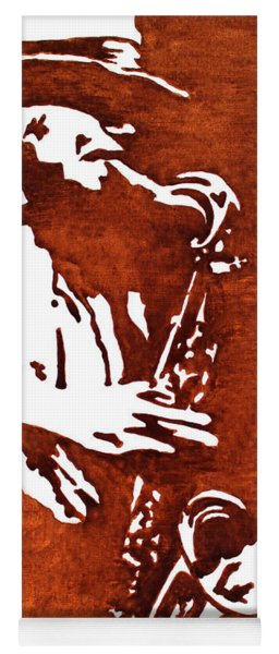 Jazz Saxofon Player Coffee Painting Yoga Mat