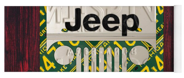 Jeep Vintage Logo Recycled License Plate Art Yoga Mat