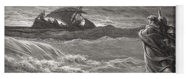 Jesus Walking On The Sea John 6 19 21 Yoga Mat