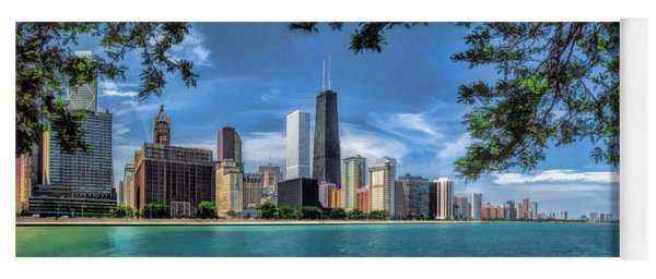 John Hancock Chicago Skyline Panorama Yoga Mat