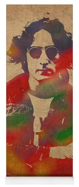 John Lennon Watercolor Portrait On Worn Distressed Canvas Yoga Mat