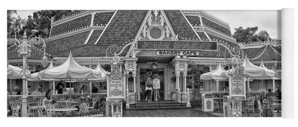 Jolly Holiday Cafe Main Street Disneyland Bw Yoga Mat