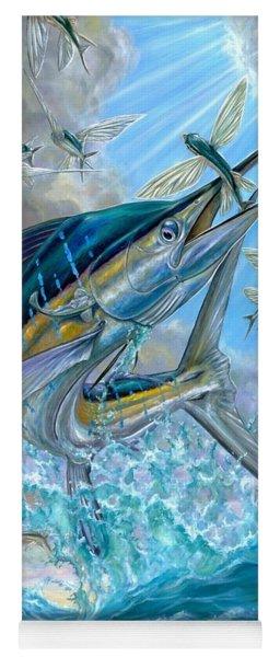 Jumping White Marlin And Flying Fish Yoga Mat