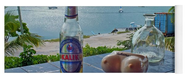 Kalik Beer Bottle At The Front Porch Yoga Mat
