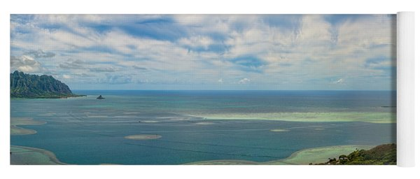 Kaneohe Sandbar Panorama Yoga Mat