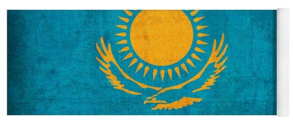 Kazakhstan Flag Vintage Distressed Finish Yoga Mat