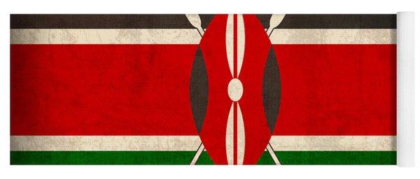 Kenya Flag Vintage Distressed Finish Yoga Mat